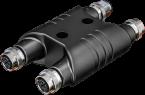 H-coupler M12 Power male S-cod. / 3x female S-cod.