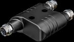 h-coupler M12 Power male S-cod. / 2x female S-cod.